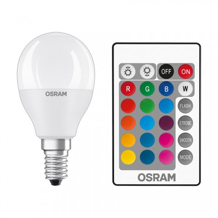 RENDL ampoule OSRAM RGBW mini-ball mat 230V E14 LED EQ40 2700K G13578 1