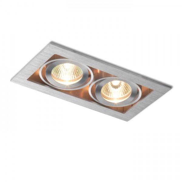 RENDL indbygget lampe FIZZ II retningsindstillelig aluminium 12V GU5,3 2x50W R10147 1