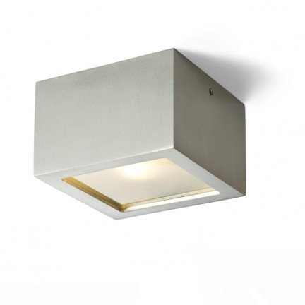 RENDL surface mounted lamp DEZA square aluminum/satinated glass 230V G9 25W IP54 R10166 1