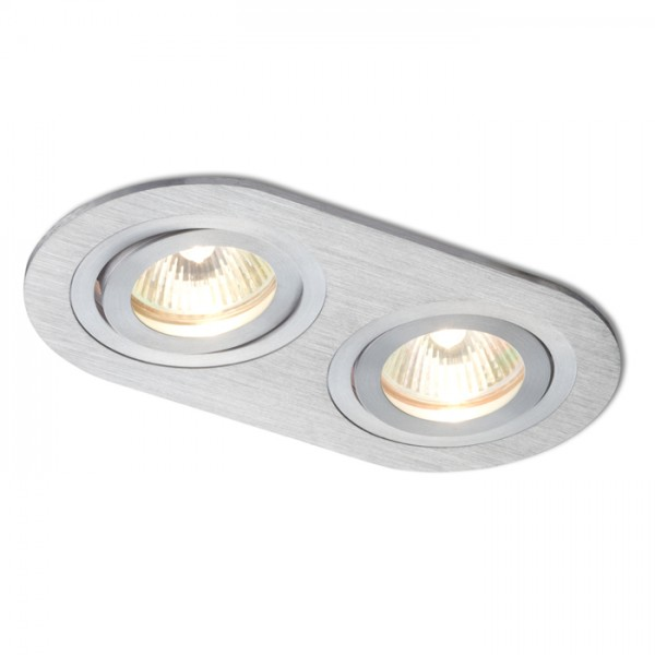 RENDL recessed light BIZZ II directional brushed aluminium 12V GU5,3 2x50W R10189 1