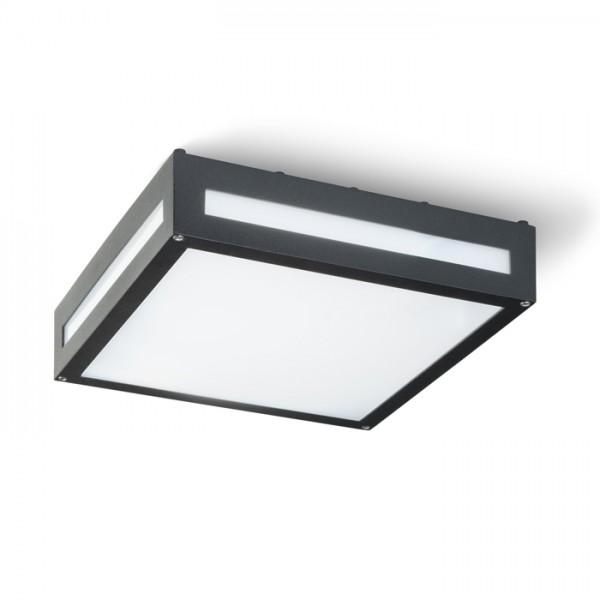 RENDL luminaria de exterior PLAKA de techo negro 230V E27 2x26W IP54 R10359 1