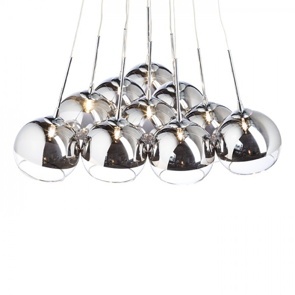 RENDL suspension ASTRAL suspension verre teinté chromé/verre clair 230V/12V G4 10x20W R10513 1