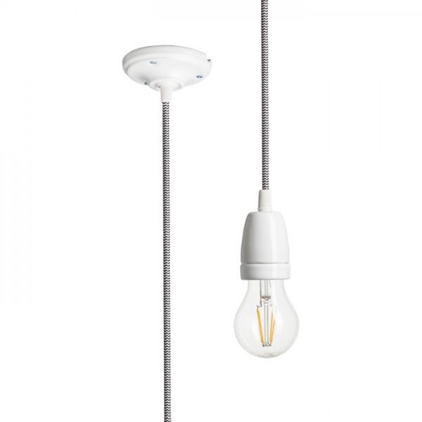 RENDL sjenilo za lampu FABIO viseći komplet crna/bijela porcelan 230V E27 42W R10617 1