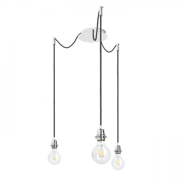 RENDL shades and accessories, bases, pendent sets KOMBIX 3 pendant set WB+BC+CHF 230V E27 3x28W R11779 1