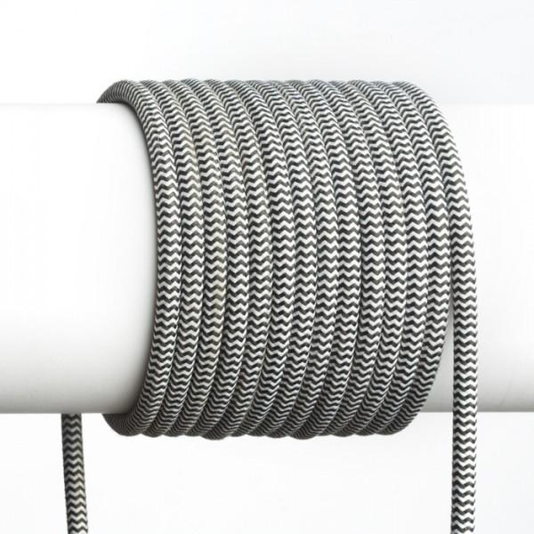 FIT 3x0,75 1bm textilný kábel čierna/biela