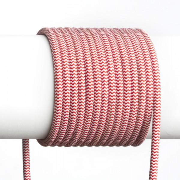 FIT 3x0,75 1bm textilný kábel červená/biela
