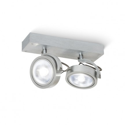 RENDL spotlight KELLY II wall brushed aluminium 230V/12V G53 2x50W R12328 1