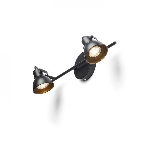 RENDL spotlicht ROSITA II wandlamp gitzwart/goudgeel 230V LED GU10 2x9W R12510 1