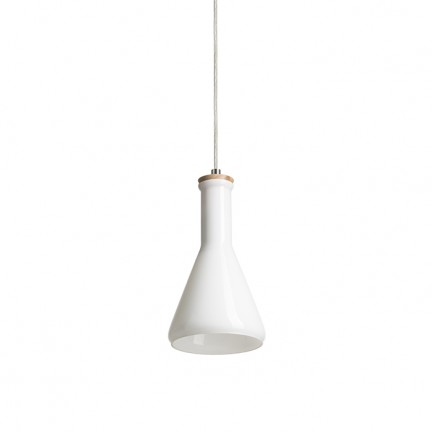 RENDL pendent PULIRE CON pendent opal-colored glass/wood/chrome 230V E14 28W R12663 1