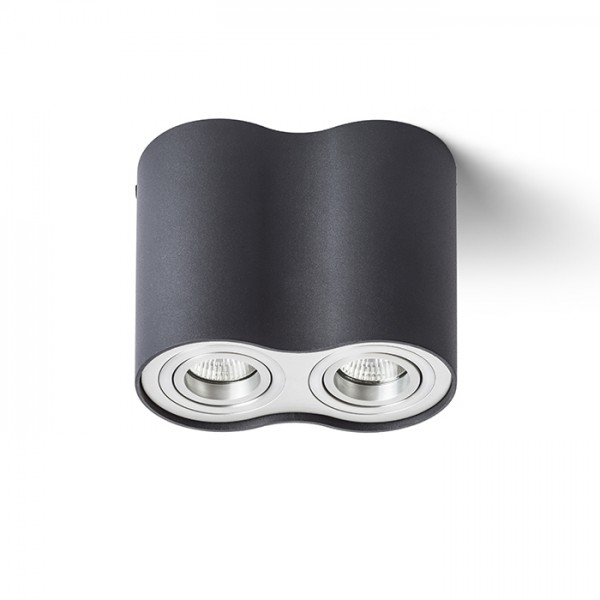 RENDL surface mounted lamp MILANO II ceiling matt black brushed aluminum 230V GU10 2x35W R12683 1