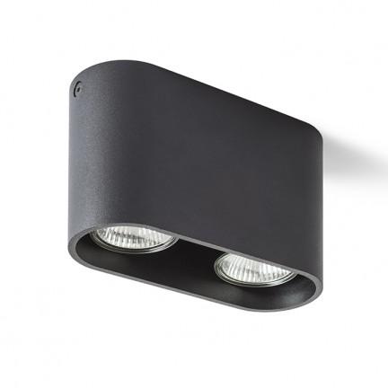 RENDL opbouwlamp MANTOVA II plafondlamp mat zwart 230V GU10 2x35W R12734 1