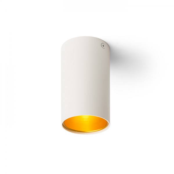 RENDL opbouwlamp TUBA plafondlamp mat wit/goudgeel 230V GU10 35W R12745 1