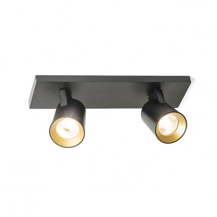 RENDL spotlight KENNY II surface mounted black/gold 230V GU10 2x35W R12917 1