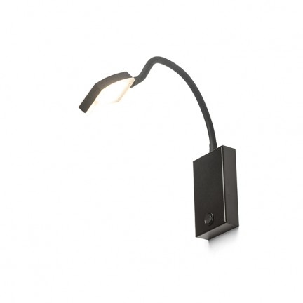 RENDL foco FRISCO W de pared negro 230V LED 4.2W 120° 3000K R12942 1