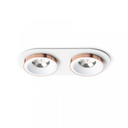 RENDL luminaire plafond SHARM R II encastré blanc cuivre 230V LED 2x10W 24° 3000K R13240 1