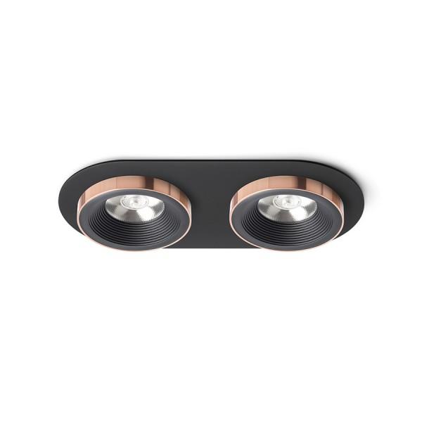 SHARM R II zápustná čierna/čierna meď 230V LED 2x10W 24°  3000K