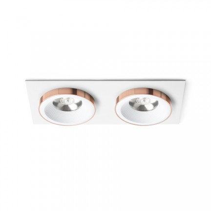 RENDL recessed light SHARM SQ II recessed white copper 230V LED 2x10W 24° 3000K R13255 1