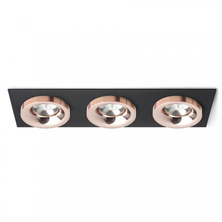 RENDL luminaire plafond SHARM SQ III encastré noir cuivre /cuivre 230V LED 3x10W 24° 3000K R13263 1