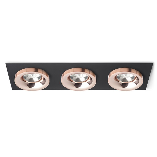 RENDL recessed light SHARM SQ III recessed black copper/copper 230V LED 3x10W 24° 3000K R13263 1