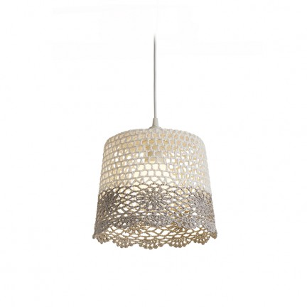 RENDL shades and accessories, bases, pendent sets DAISY pendant shade white/light grey max. 15W R13279 1