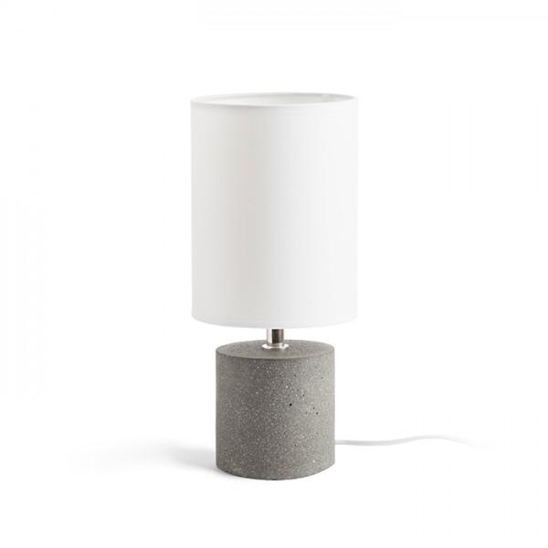 CAMINO stolná s tienidlom biela cement 230V E27 28W