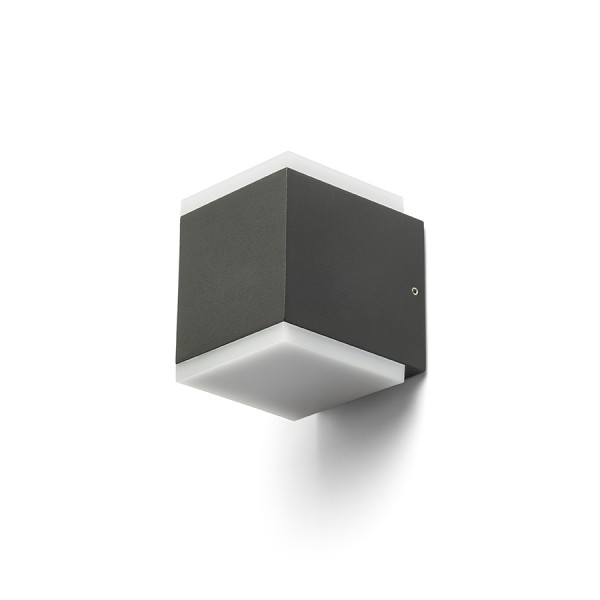RENDL outdoor lamp TIRAS II wall anthracite grey frosted acrylic 230V LED 2x6W IP54 3000K R13569 1