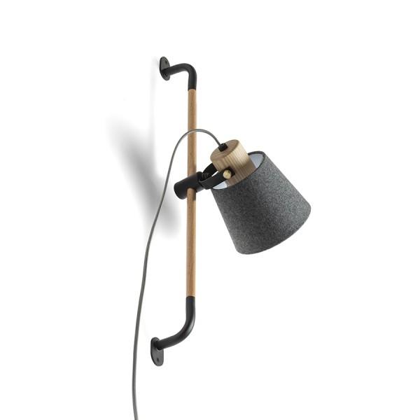 RENDL foco CHOUPETTE de pared ajustable grisnegruzco textil/madera 230V E27 15W R13649 1