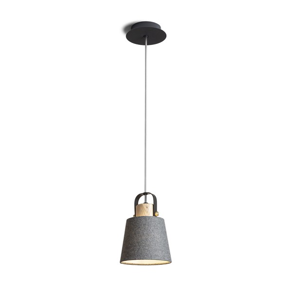 RENDL pendent CHOUPETTE pendent black grey textile/wood 230V E27 15W R13650 1