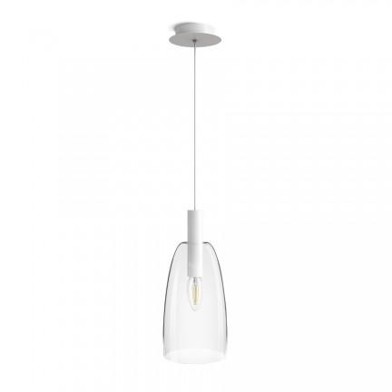 RENDL Corp de iluminat suspendat BELLINI L E14 suspendat alb sticlă transparentă 230V E14 15W R13658 1
