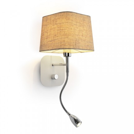 RENDL wall lamp PERTH wall with LED spotlight beige/white chrome 230V E14 LED 15+3W 30° 3000K R13661 1