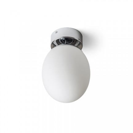 RENDL surface mounted lamp MERINGUE 16 ceiling opal-colored glass/chrome 230V E27 15W IP44 R13690 1