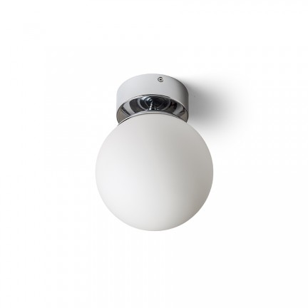 RENDL surface mounted lamp BOLLY 17 ceiling opal-colored glass/chrome 230V E27 15W IP44 R13693 1